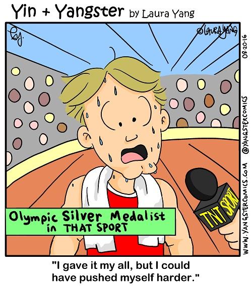 Olympics silver medalist Rio cartoon comic try harder better effort