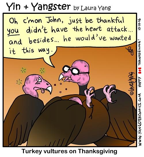 Happy Thanksgiving turkey vulture cannibal eating yum