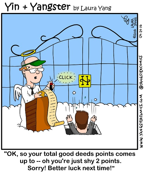 good deeds fall short for entry into heaven angel accountant cartoon heaven's pearly gates entrance
