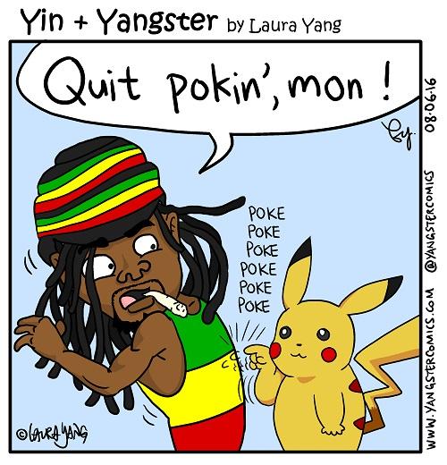 jamaican guy with dreadlocks poked by pikachu pokemon go