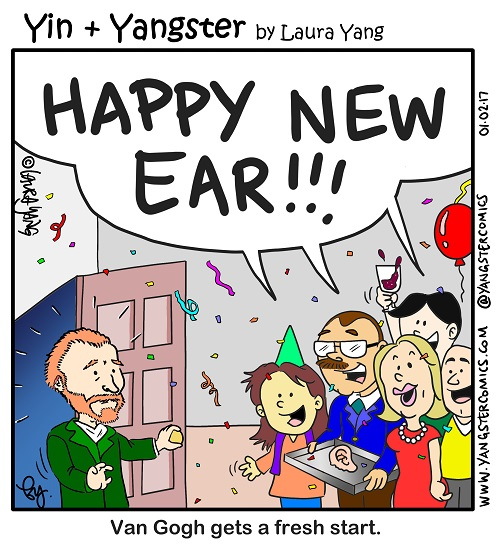 van gogh happy new year ear surprise party cartoon